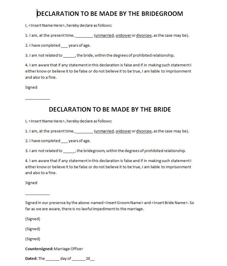 court marriage affidavit