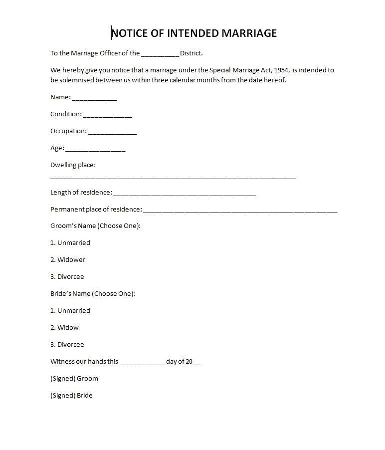court marriage notice
