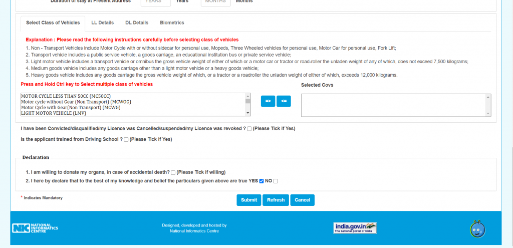 """Read this part carefully and select option suitable for you and press"""" submit"""""""